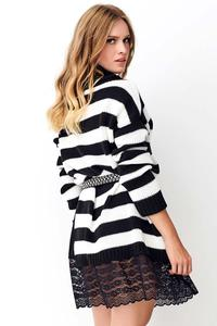 Ecru Long Striped Sweater with Lace