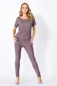 Cappuccino Loose Top and Slim Pants Ladies Jumpsuit