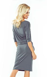 Dark Grey Casual Style Drawstring Waist Dress