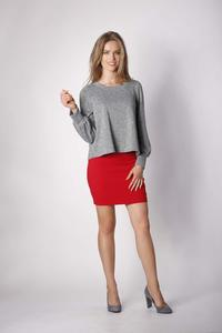 Dark Gray Short Trapezoidal Knitted Blouse