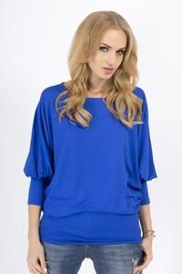 Blue Casual Long Bat Sleeves Blouse