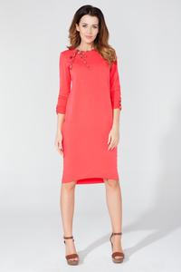 Coral Red Casual 3/4 Sleeves Dress with Colorful Piping