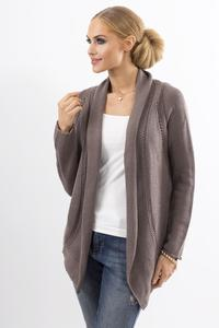 Cappuccino Ajure Cardigan with Asymetrical Lapels