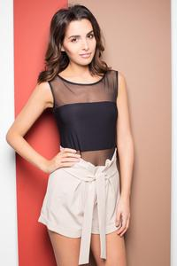 Beige High Wrinkled Waist Shorts with Self Tie Belt