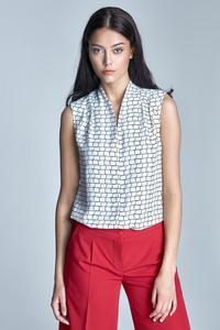 Black&White Delicate Pattern Sleeveless Summer Shirt