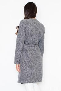 Grey Elegant Big Collar Self Tie Belt Coat
