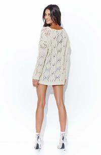 Beige Loose Sweater with a Wide Neckline