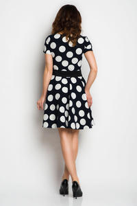 Dark Blue Polka Dots Dress with Sash