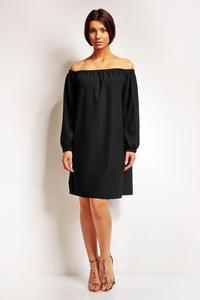 Black Boho Chic Elastic Off SHoulder Neckline Dress