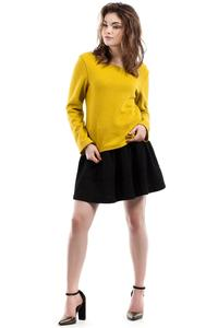 Yellow Scoop Neckline Long Sleeved Blouse