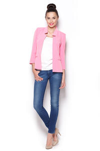 Pink Sunny Smart Blazer with Peacock Collar