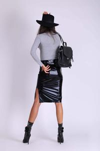 Black Pencil Skirt of Glossy Fabric with Zipper