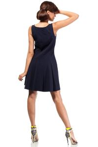 Dark Blue Sleeveless Pleated Round Neckline Dress