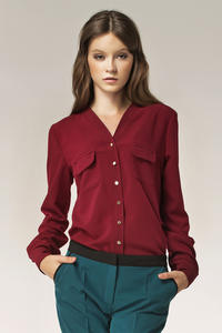 Maroon Vendetta Collarless Appointment Formal Blouse