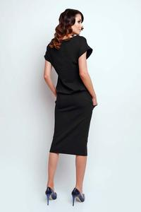 Black Modern Midi Dress with Short Sleeve