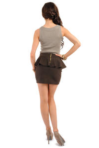 Brown Tiered Mini Skirt with Back Gold Zip Fastening