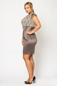 Brown Elegant Evening Dress with Lace Top
