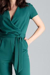 Green Elegant Suit with Envelope Neckline
