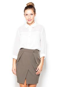 Olive Green Mini Pencil Skirt with Pockets