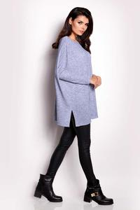 Blue Oversized Reglan Sleeves Sweater
