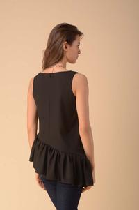 Asymmetric Top Blouse with Frill - Black