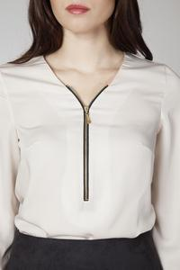 Beige Office Style Blouse with a Zip