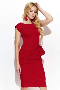 Red Fitted Dress with Decorative Scratching