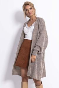 Long, unfastened women's sweater - Mocca