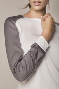 White&Grey Long Sleeves Blouse
