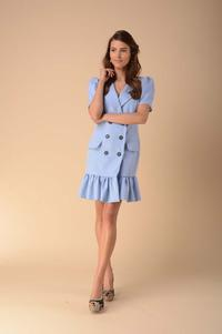 Dress with a Frill Fastened with Buttons - Blue