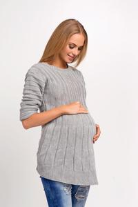 Grey Asymmetric Maternity Sweater