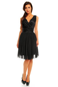 Black Evening Party Dress with Tulle