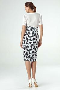 Patterned Pencil Skirt with High Waist