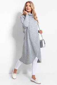 Grey Turtleneck Long Sweater