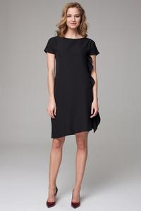 Black Simple Dress with Asymetrical Frill