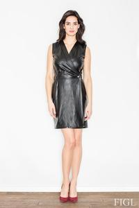 Black Sexy V-Neckline Eco-leather Mini Dress