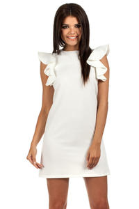Ecru High Neck Shift Dress with Waterfall Shoulders