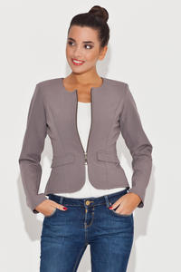 Round Neck Grey Blazer with Semi Zipper Fastening