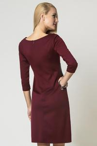 Maroon Elegant Eco-Leather Black Waist Office Dress