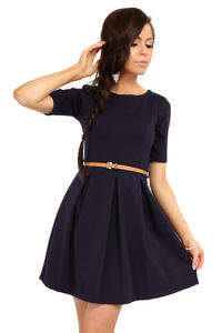 Navy Blue Magnanimous Modern Belted Tea-length Dress