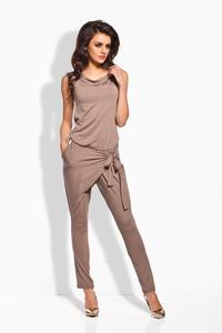 Cappuccino Tapered Legs Self Tie Bow Ladies Jumpsuit