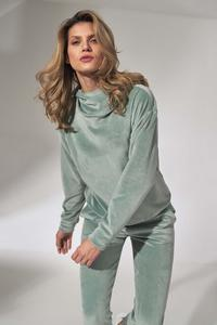 Mint Green Velveteen Hooded Sport Blouse
