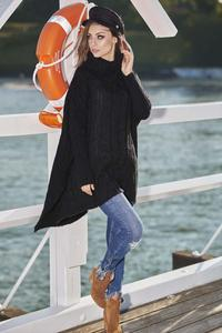 Black Oversized Turtleneck Sweater