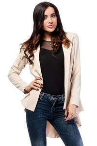 Beige Seam Blazer with Cascading Back Hemline