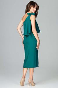 Cocktail Green Dress One Shoulder