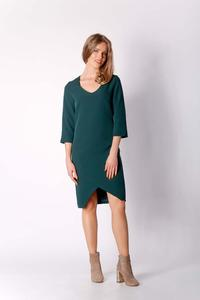 Green Classic Simple Dress with Asymmetrical Zipper