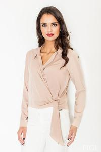 Beige Chic Wrap Design Self Tie Bow Blouse