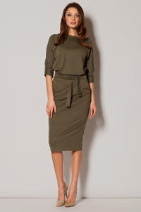 Green Urban Style Monk Hip Dress