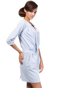 Sky Blue Elegant Office Style Unique Collar Dress