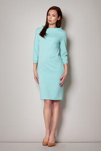 Mint High Neck Textured Shift Dress with 3/4 Sleeves
